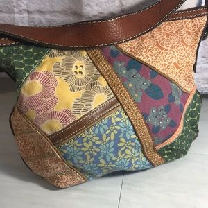 Fossil Canvas/leather patchwork bag multi